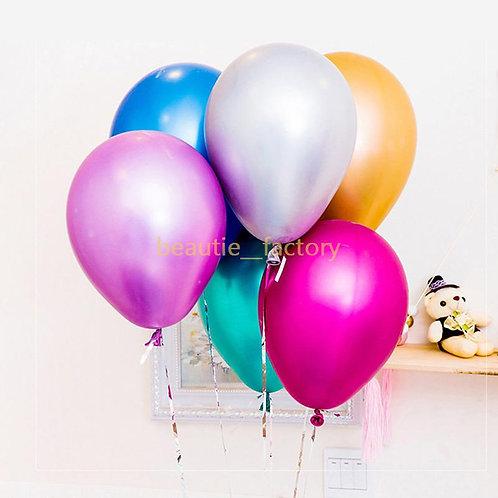"Two 12"" Metallic Latex Balloons"