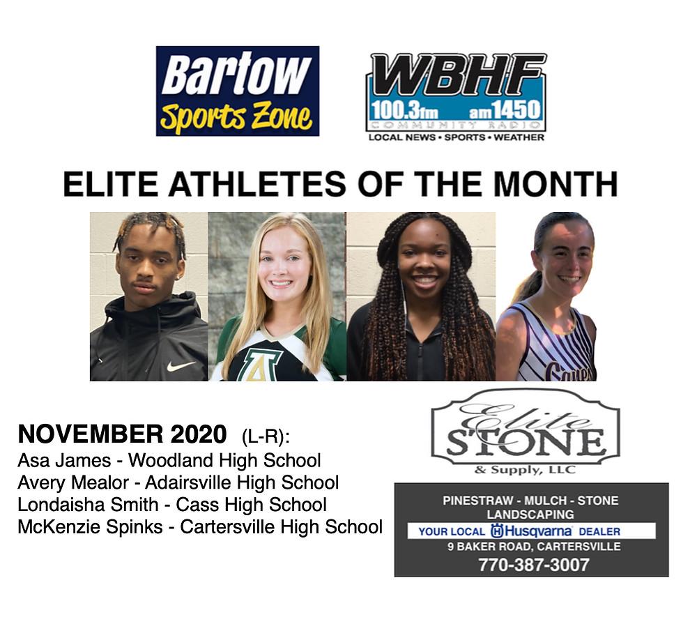 November 2020 Elite Athletes of the Month