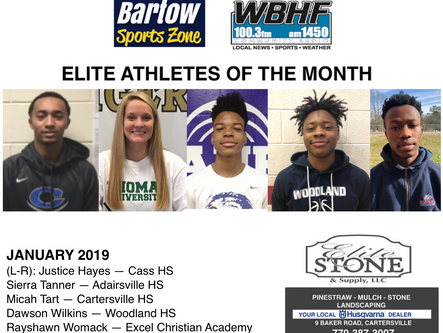 Elite Athletes of the Month for January 2019