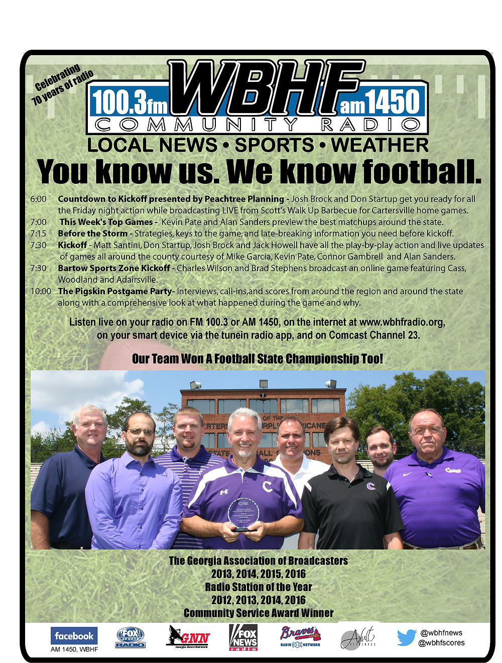 2016 WBHF and Bartow Sports Zone football broadcasts