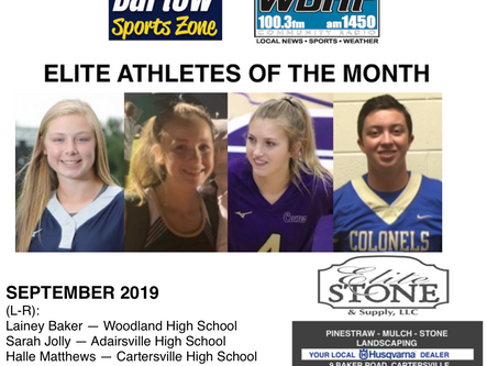 September 2019 Elite Athletes of the Month