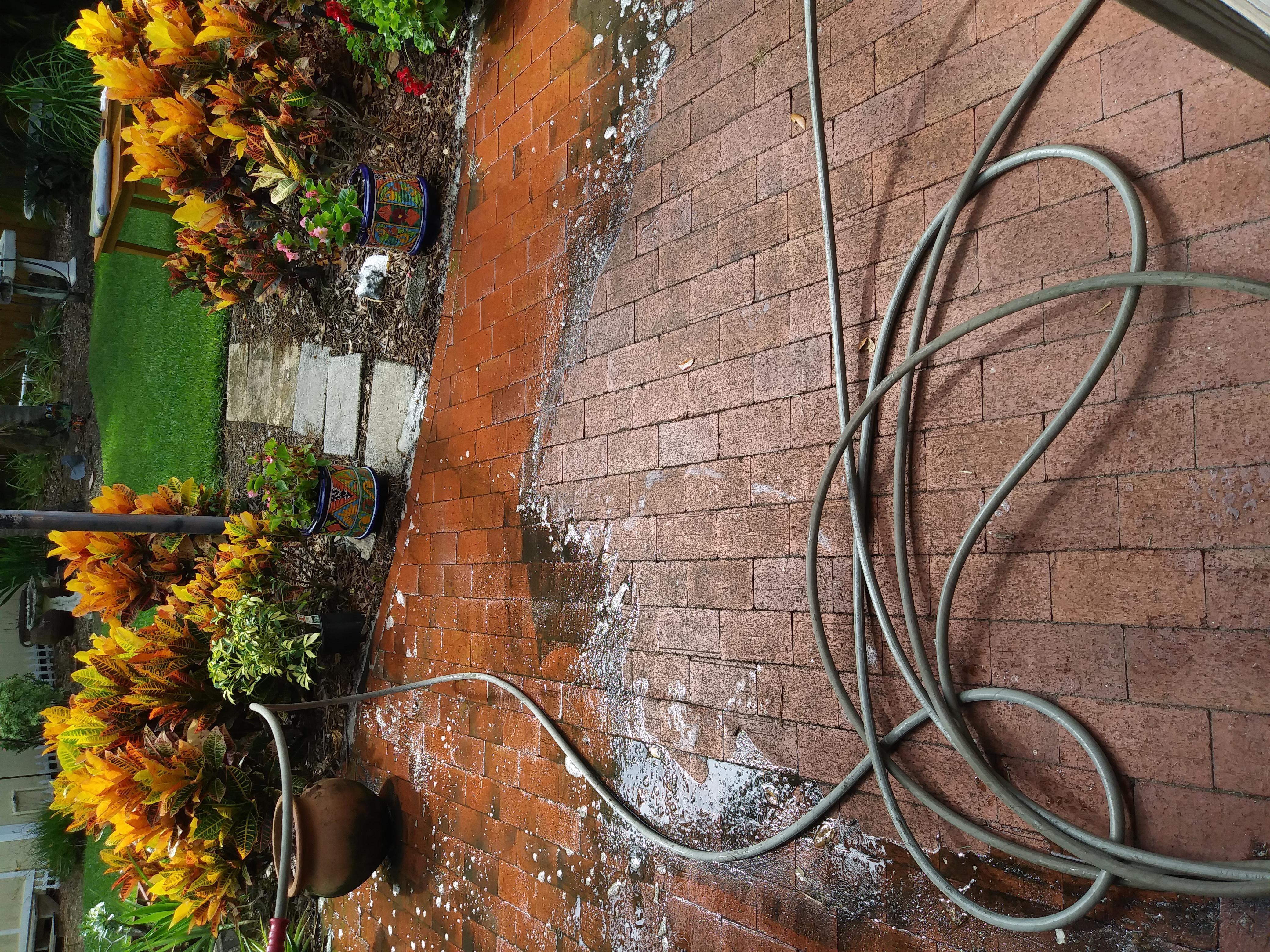 Before Brick Paver Pressure Washing