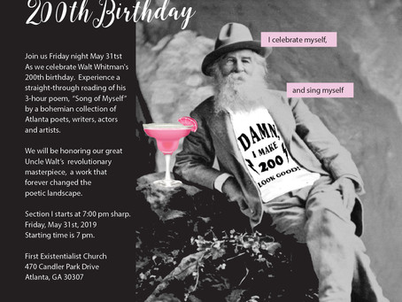 """Walt Whitman's 200th Birthday:  """"Song of Myself"""" read in its entirety...MAY 31!"""