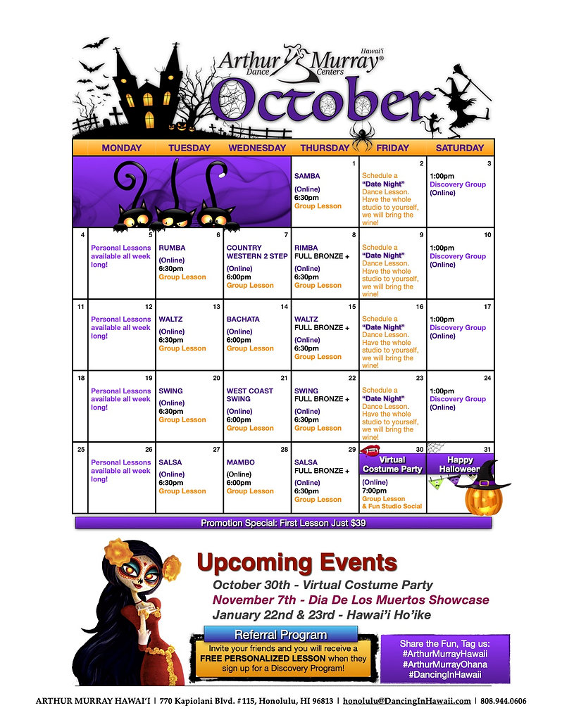 Honolulu Calendar 2020-October.jpg