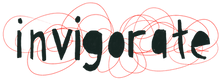 Invigorate logo. Black lower case text with a red scriggly background.