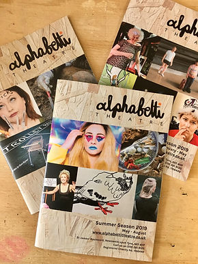 Front cover of Alphabetti-theatre  programme leafflet