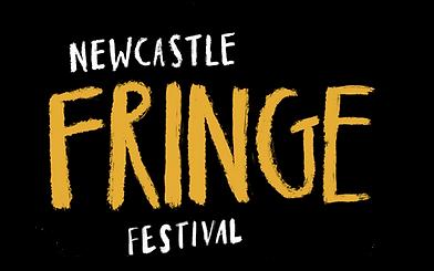 black logo with stylised writing for Newcastle Fringe Festival