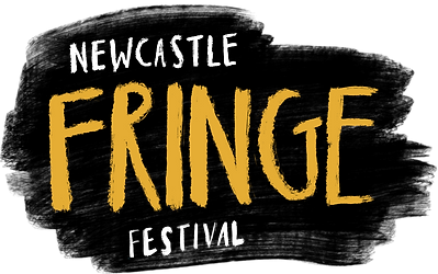 black logo with stylised writing for Newcastle Fringe Festival