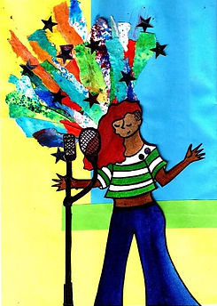 A colourful poster of a cartoon lady and a microphone