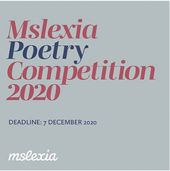 "A grey poster with ""Mslexia poetry competition 2020"" written in blue and pink"