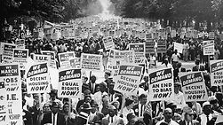 Black and white poster of a civil rights march
