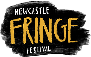 Newcastle Fringe Festival logo. Black background with yellow and white text.