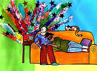 A colourful image of two cartoon people on an orange couch with a cat