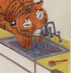 an illustration of a tiger drinking out of a sink