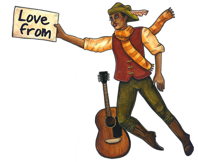 "A cartoon of a youthful black man holding a sign that says ""Love from"". There's an Acoustic guitar by his left leg"