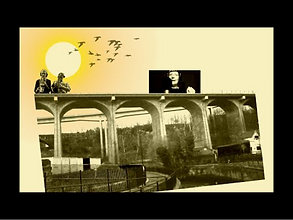 A collage of a bridge, the sun and some birds