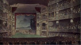 A painting of a large theatre filled with people