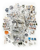 A book cover of a face made of different smaller objects