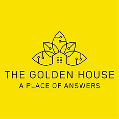 "A yellow poster saying ""The Golden House. A place of Answers"""