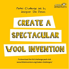 "A poster saying ""Create A spectacular wool invention"""