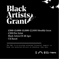 "Poster saying ""Black artists grant"""