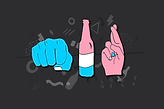 A cartoon drawing of a blue fist, a blue white and pink bottle and a pink hand with fingers crossed