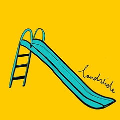 Illustration of a blue slide with a yellow background