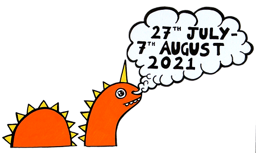 Fringe banner header. Multi-coloured party with a happy tortoise riding on a cloud. Lot's of colourful characters popping out and bottles of Newcastle Fringe ale pouring from the skies. Orange dinosaur blowing steam from it's nostrils with the dates 27th July to the 7th August 2021 written in the smoke.