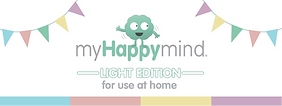 "A simple poster saying ""My Happy mind, Light edition, for use at home"""