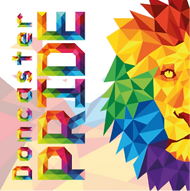 "A colourful poster saying ""Doncaster Pride"" with a pixelated picture of a lion beside it."