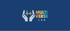 "logo with a pair of white hands cupping a soundwave with the word ""Multiverse Lab"" written beside it"