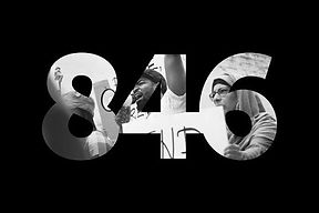 A black and white logo of the numbers 846