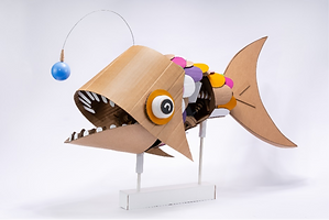 An anglerfish made out of cardboard