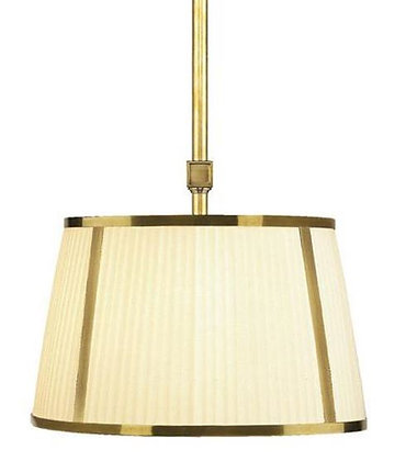 Robert Abbey, Two Light Brass Drum Shade Pendant