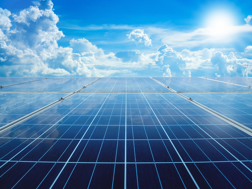 solar panels with sun and perfect sky co