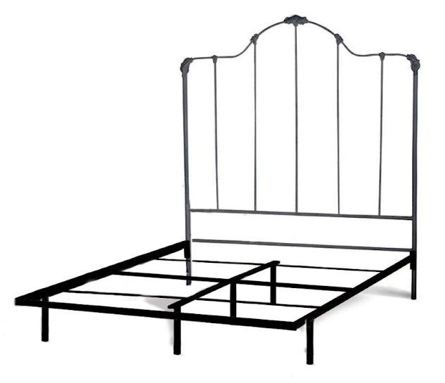 Madeline Iron Bed Queen Size Headboard with frame - Vintage Emerald