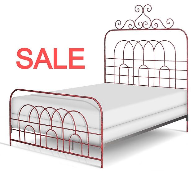Maxwell Iron Bed Queen Size Complete Bed - Vintage Red