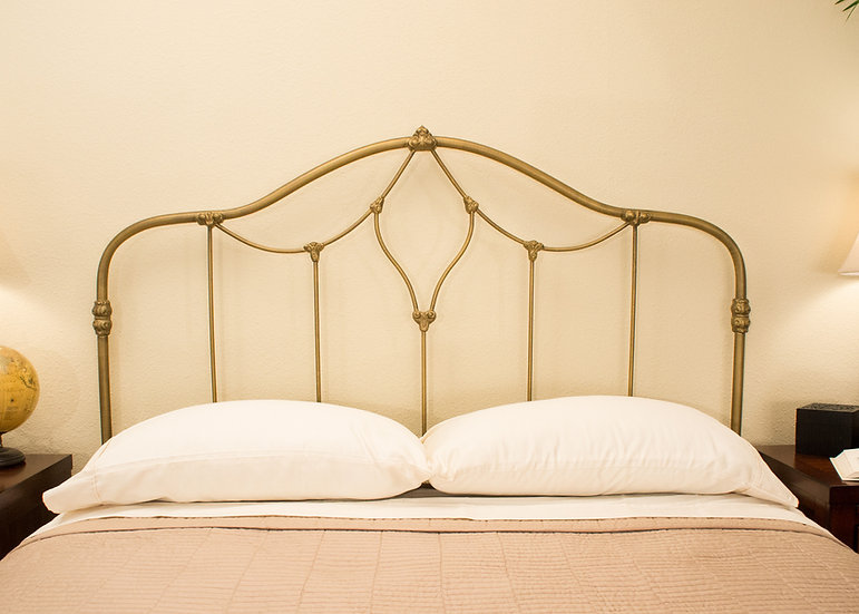King Columbia Iron Bed - Light Brass - Headboard with Frame