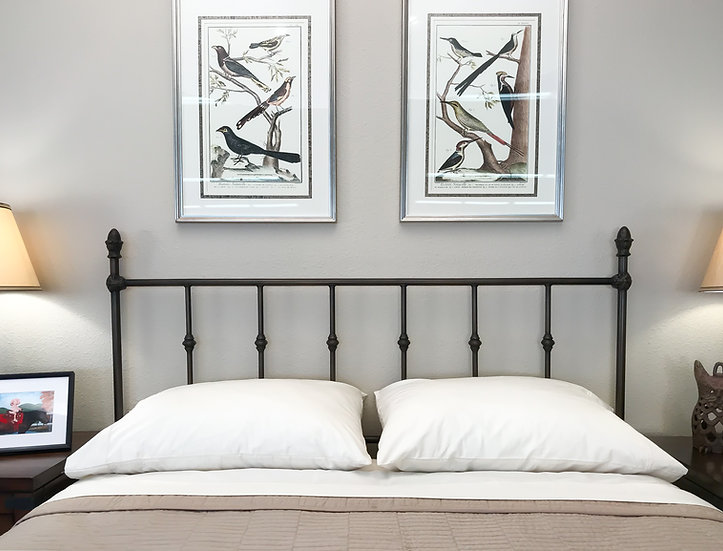 King Ashton Iron Bed Headboard with Frame - Old Gold