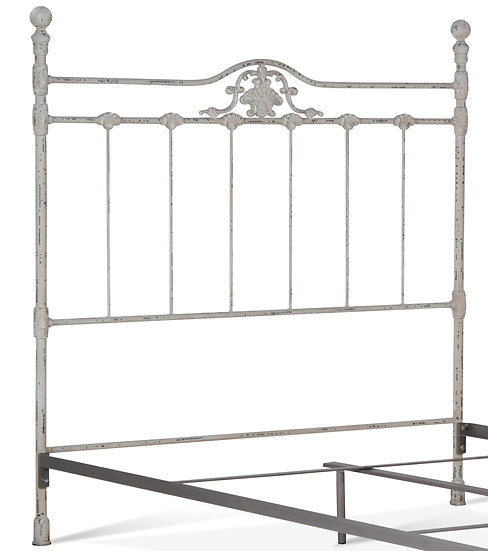 Shell Iron Bed Queen Size Headboard with frame - Vintage White