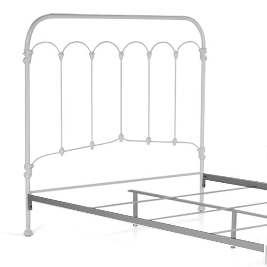 Beth Iron Bed - Queen Size Headboard with frame - White Gloss