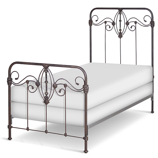 TWIN size Kathryn Complete Bed - Rustic Bronze with genuine antiqued brass
