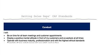 Sales Rep CAP Standards