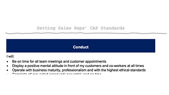Sales Rep CAP Standards