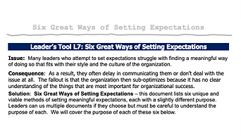Six Great Ways of Setting Expectations
