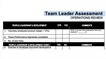 Team Leader Performance Assessment