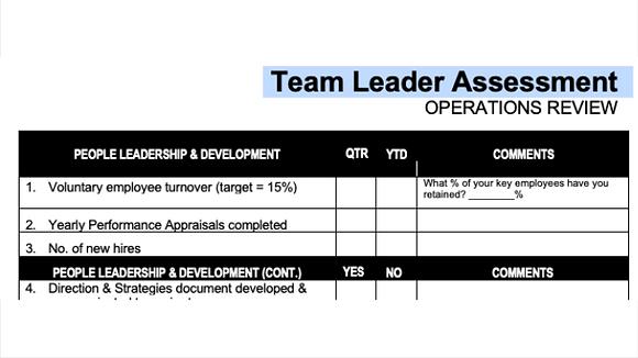 Team Leader Performance Assessment