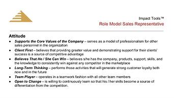 Role Model Sales Representative