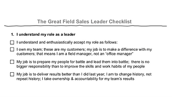 The Great Field Sales Leader Checklist