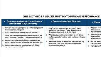 The Six Things a Leader Must Do to Improve Performance